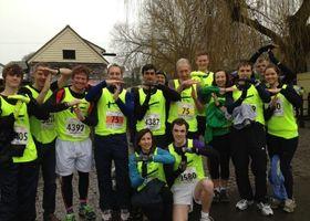 Cambridge Half Marathons runners doing a T for Tom